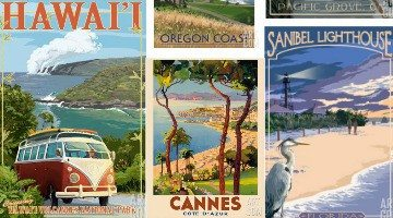 Nostalgic Beach Travel Posters and Prints