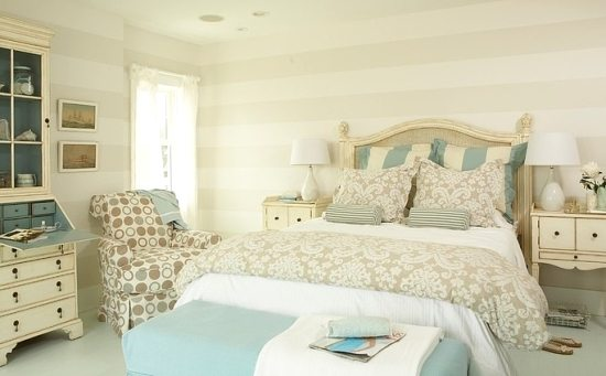 beach house bedroom striped walls