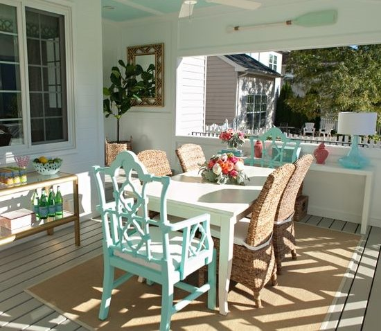 aqua porch dining room chairs