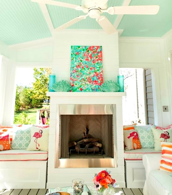 Porch Living Room Idea In Aqua Coral Orange Beach Bliss Living