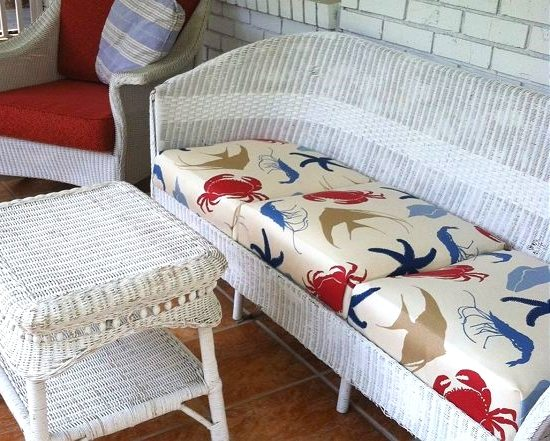 Beach Fabric Upholstered Outdoor Wicker Sofa