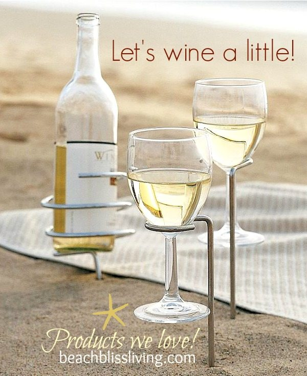 Beach wine glass holder images for Beach wine glass candle holders