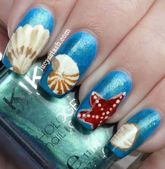 Sea Shell Art Nails