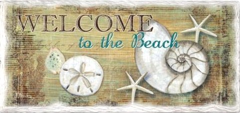 Stone Welcome to the Beach Sign