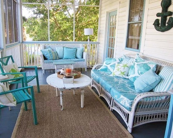 Create beach bliss with a blue porch floor beach bliss Cottage porch decorating ideas