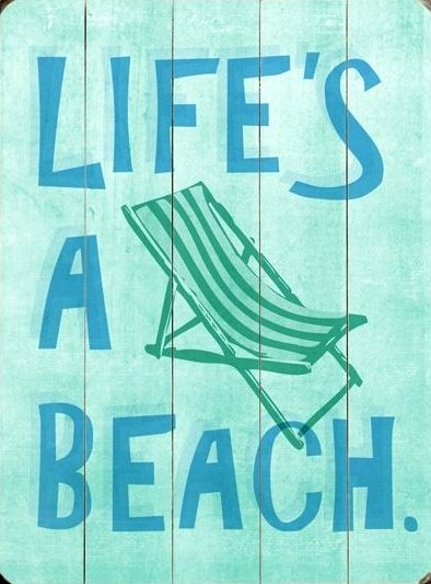 Life's a Beach Wood Sign Vintage