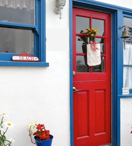 Red and Blue Cottage Front Door