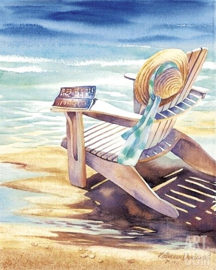 Beach Chair Sun Hat Painting Watercolor