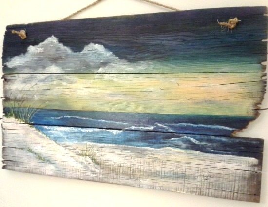 Affordable original sea beach paintings by etsy artists for Mural on wood