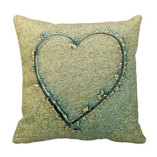 Beach Pillow Heart Drawing in Sand