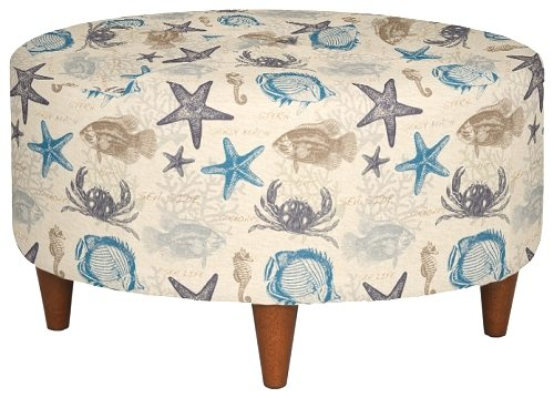 Upholstered fabric chairs and ottomans with beach attitude by la z boy