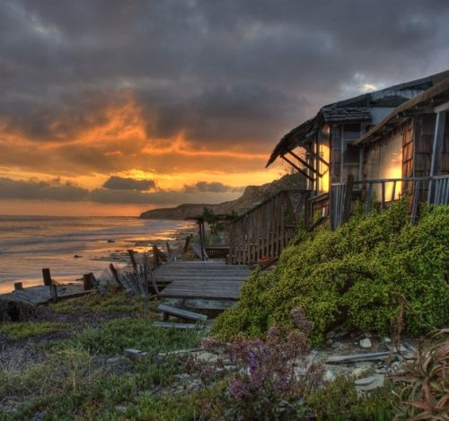 Crystal Cove Cottages at Sunset