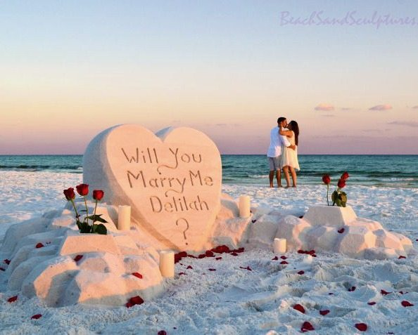 Marriage Proposal Sand Sculpture