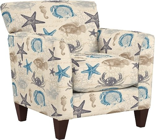 Upholstered Fabric Chairs And Ottomans With Beach Attitude