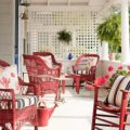 Beach Cottage Porch with Red Wicker Chairs