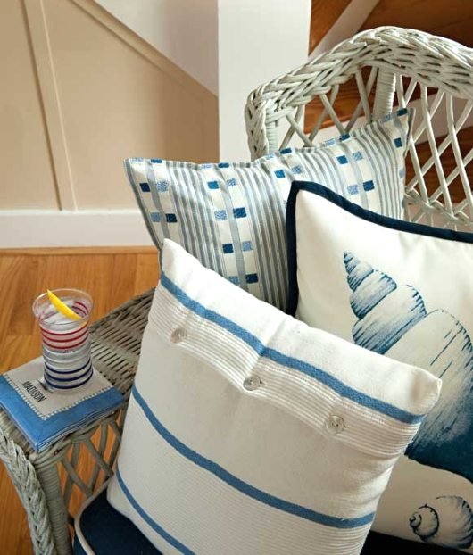 Beach Pillows Blue and White