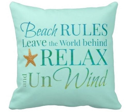 Beach Rules Pillow Subway Style