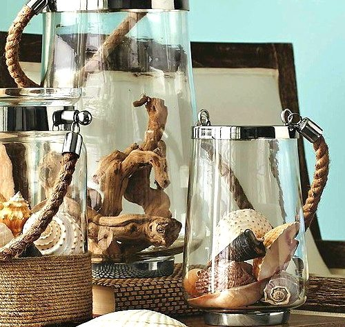 Glass Lanterns with Rope