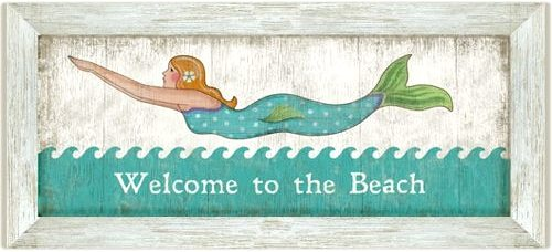 Welcome to the Beach Mermaid Sign Suzanne Nicoll