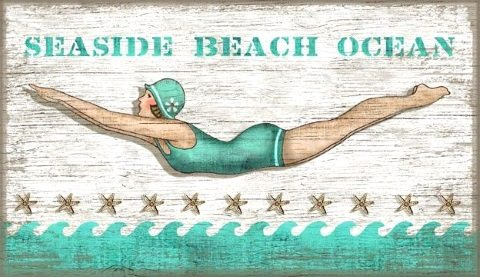 Diving Girl by Suzanne Nicoll Wood Sign