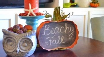 A Blue & Orange Decorated Beach Condo is Decked out for Fall