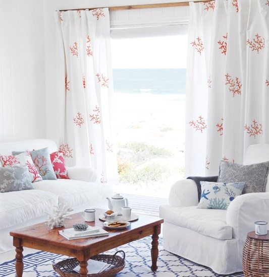 Red and Blue Coral and White Decor