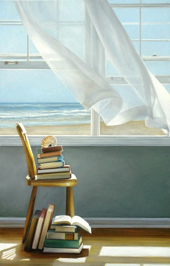 Beach Books Painting by Karen Hollingsworth-