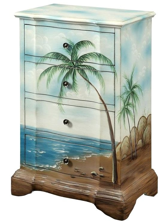 Tropical Palm Tree Beach Scene Drawer Chest Painted