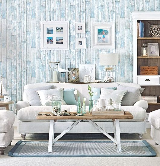 Soft blue white decor ideas to turn your living room - Wood effect wallpaper living room ...
