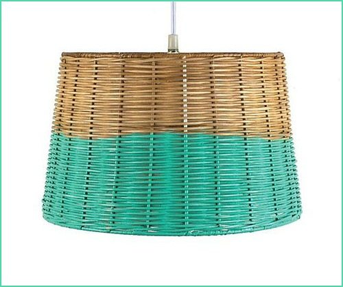 Aqua Dipped Wicker Pendant Light