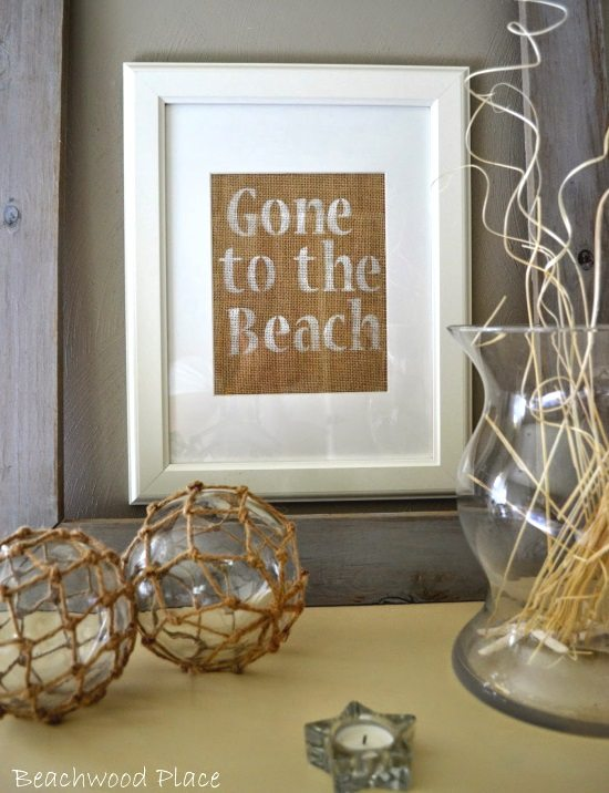 Gone to the Beach DIY Burlap Art