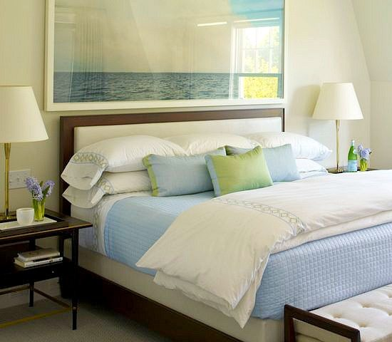 Large Ocean Photograph over Bed Headboard