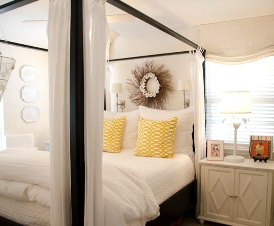 Oyster Shell Twig Wreath over Canopy Bed