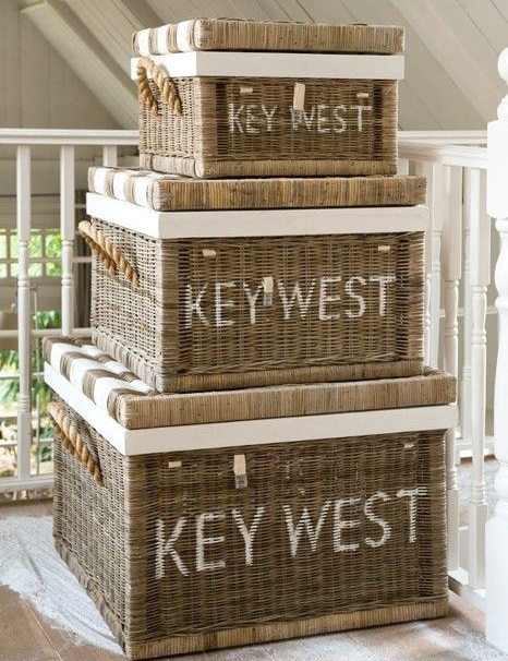 Painted Storage Baskets with Words