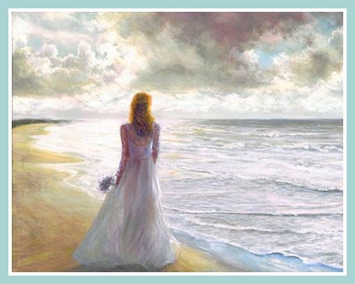 Romantic Painting Woman on the Beach