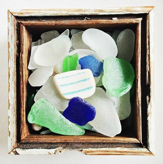 Seaglass Display in a Wood Box
