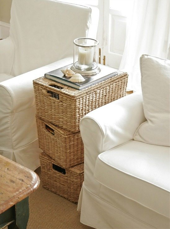 Stacked Basket Storage Side Table