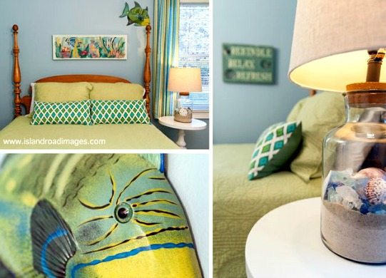 Tropical Beach Bedroom Green