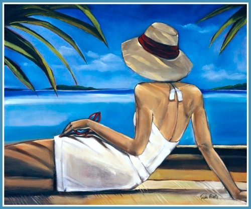 Woman on Cote d'Azure looking over the Sea