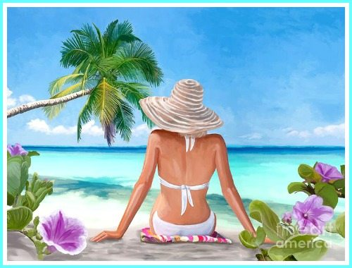 Woman on Tropical Beach with Palm Tree