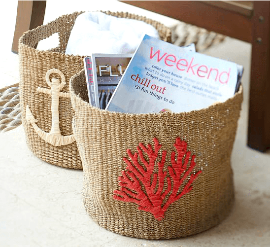 Woven Baskets with Beach Motif