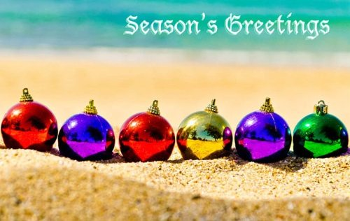 Christmas Balls on the Beach Greeting Card Idea