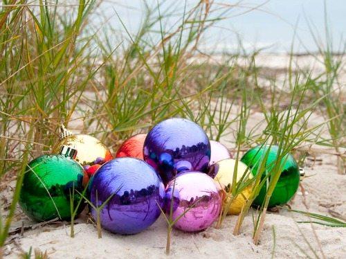Christmas Ball Ornaments on the Beach