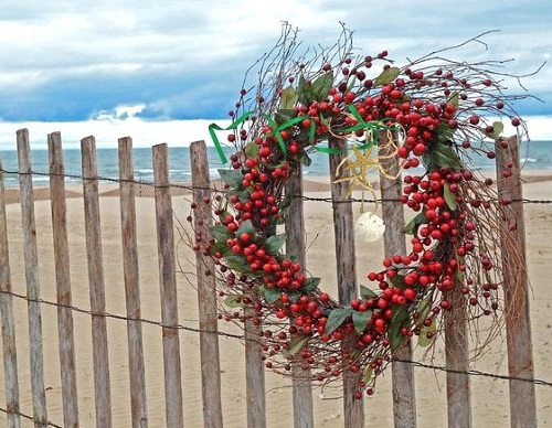 Christmas Berry Wreath Beach Photo