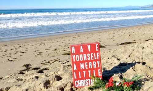 Merry Christmas Sign on the Beach