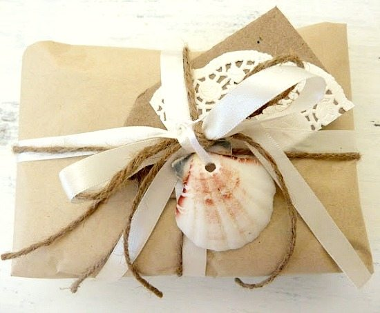 Brown Paper Gift Wrapping with Twine, Ribbon and Shell