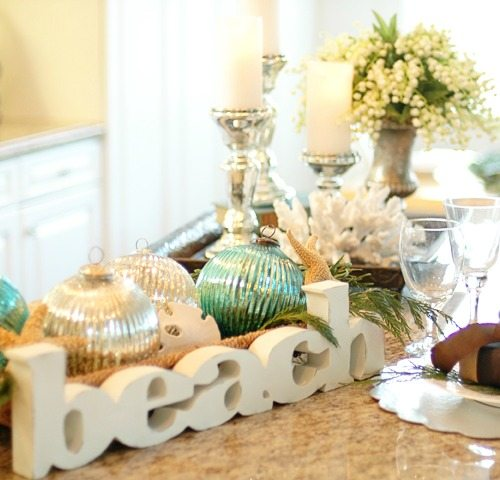 Christmas table with beach letter sign