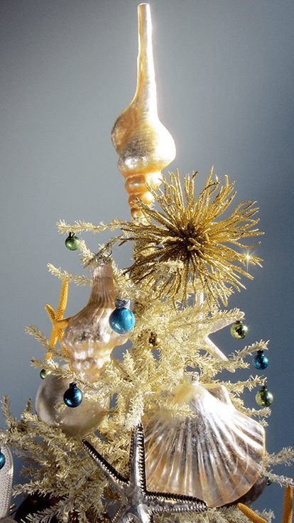 Mercury Glass Beach Christmas Ornaments