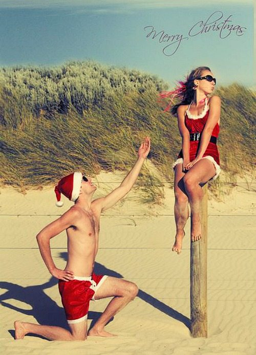 Couple Beach Christmas Card Idea
