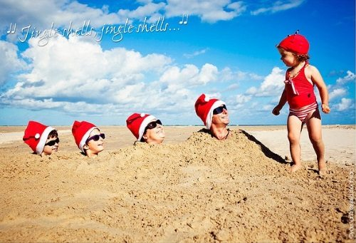 Family Beach Photo Christmas Card